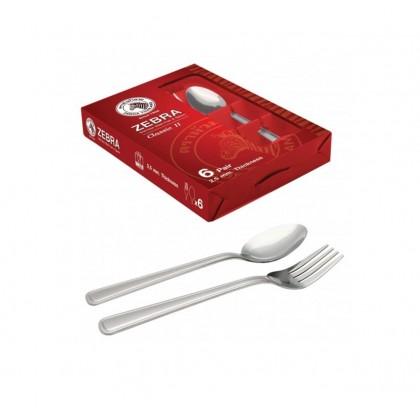 Zebra 6 Pairs ''Classic II'' Fork & Spoon Set