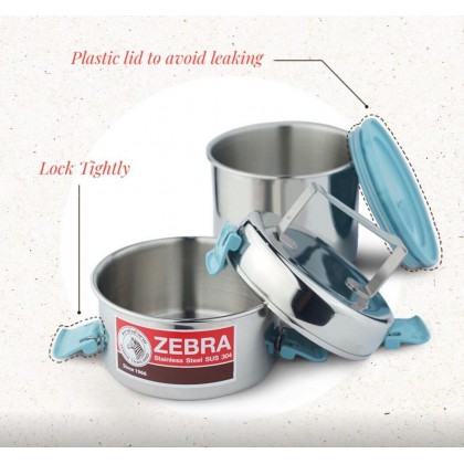 Zebra 12cm X 2 Smart Lock II Food Carrier with 2 Pcs Chinese Spoon