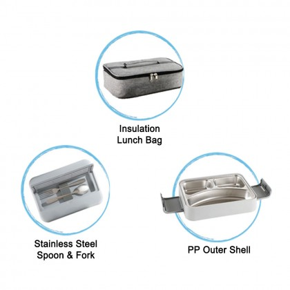 Zebra 24cm Lunch Box Set With Insulated Bag